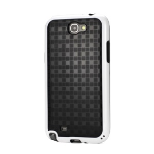 Glossy Square TPU Case for Samsung Galaxy Note 2 / II N7100 - Black / White