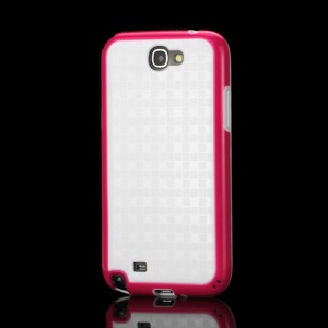 Glossy Square TPU Case for Samsung Galaxy Note 2 / II N7100 - White / Rose