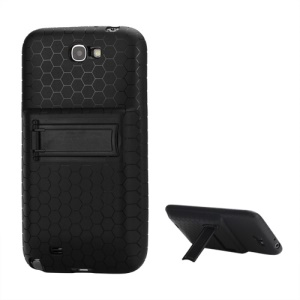 For Samsung Galaxy Note 2 / II N7100 Extended Battery TPU Case with Stand - Black