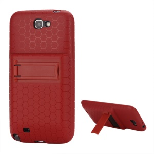 For Samsung Galaxy Note 2 / II N7100 Extended Battery TPU Case with Stand - Red