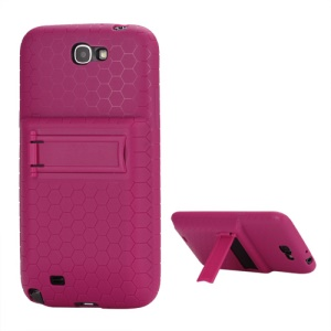 For Samsung Galaxy Note 2 / II N7100 Extended Battery TPU Case with Stand - Rose