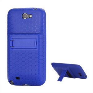 For Samsung Galaxy Note 2 / II N7100 Extended Battery TPU Case with Stand - Blue
