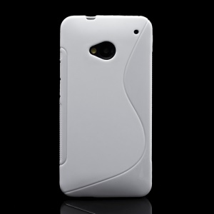 S-Curve TPU Gel Case Cover for HTC One M7 801e - White