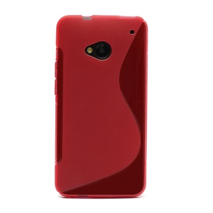 S-Curve TPU Gel Case Cover for HTC One M7 801e -Red