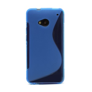 S-Curve TPU Gel Case Cover for HTC One M7 801e - Blue
