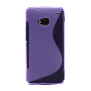 S-Curve TPU Gel Case Cover for HTC One M7 801e - Purple