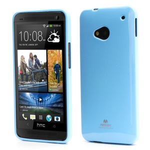 Mercury Pearl Jelly TPU Case Cover for HTC One M7 801e - Baby Blue