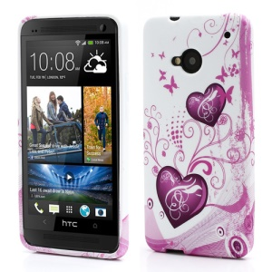 Two Hearts Butterflies TPU Case Cover for HTC One M7 801e