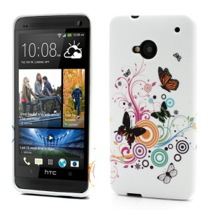 Colorized Butterflies Circle TPU Gel Cover for HTC One M7 801e