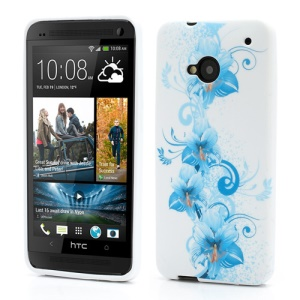 Blue Lily Flowers Gel TPU Case Cover for HTC One M7 801e