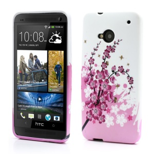 Pink Plum Blossom TPU Case Cover for HTC One M7 801e
