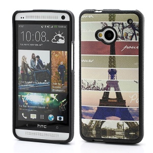 Colorized Stripe Eiffel Tower TPU Cover Case for HTC One M7 801e