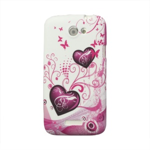 Two Hearts TPU Case Cover for HTC One X S720e / One XL / One X Plus