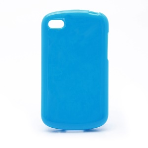 Solid Glossy TPU Case Shell for BlackBerry Q10 - Blue
