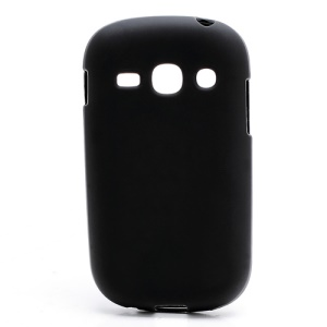 Frosted Flexible TPU Jelly Case Cover for Samsung Galaxy Fame S6810 - Black