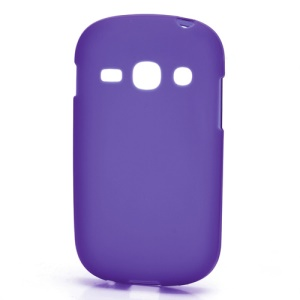 Frosted Flexible TPU Jelly Case Cover for Samsung Galaxy Fame S6810 - Purple