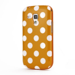 Pokla Dots TPU Case Cover for Samsung Galaxy S Duos S7562 - White / Orange