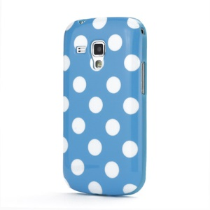 Pokla Dots TPU Case Cover for Samsung Galaxy S Duos S7562 - White / Blue
