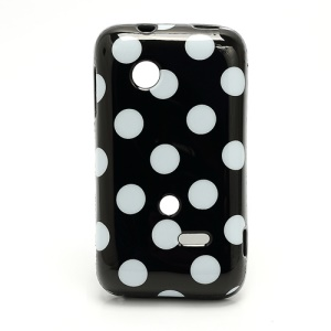 Circle Dots Flexible TPU Cover for Sony Xperia tipo ST21i ST21a Tapioca - White Dots / Black