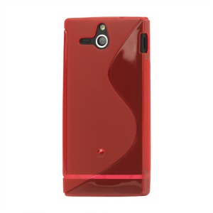 S-Line Wave TPU Case Cover for Sony Xperia U ST25a / ST25i Kumquat;Red
