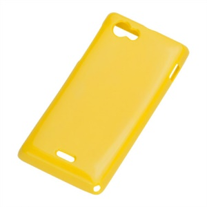 Glossy Jelly TPU Gel Back Case for Sony Xperia J ST26i - Yellow