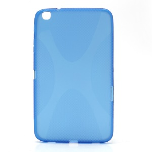 Blue X Shape Line For Samsung Galaxy Tab 3 8.0 T3100 TPU Jelly Case