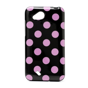 Polka Dots Soft Candy TPU Gel Case for HTC Desire VC T328D - Rose / Black