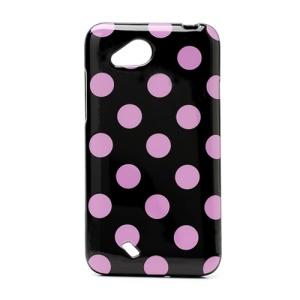 Polka Dots Soft Candy TPU Gel Case for HTC Desire VC T328D - Rose / Black