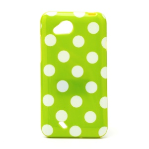 Polka Dots Soft Candy TPU Gel Case for HTC Desire VC T328D - White / Green