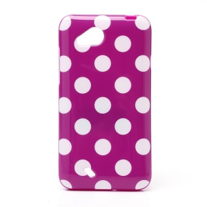 Polka Dots Soft Candy TPU Gel Case for HTC Desire VC T328D - White / Purple