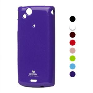 Mercury Glitter Powder Glossy TPU Gel Case for Sony Ericsson Xperia Arc X12 / Arc S LT18i;Red