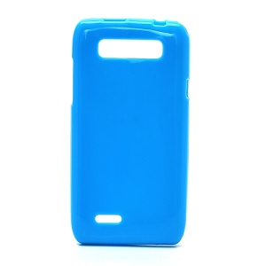 Glossy Flexible Jelly TPU Gel Case for Motorola XT788 - Blue