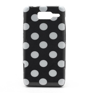 Polka Dots Jelly TPU Case Cover for Motorola RAZR i XT890 - White Dots / Black