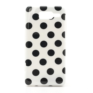 Polka Dots Jelly TPU Case Cover for Motorola RAZR i XT890 - Black Dots / White