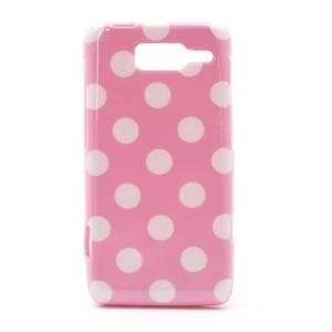 Polka Dots Jelly TPU Case Cover for Motorola RAZR i XT890 - White Dots / Pink
