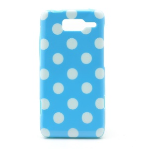 Polka Dots Jelly TPU Case Cover for Motorola RAZR i XT890 - White Dots / Blue
