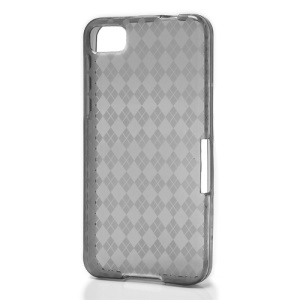 Translucent Grid TPU Jelly Case for BlackBerry Z10 BB 10 - Grey