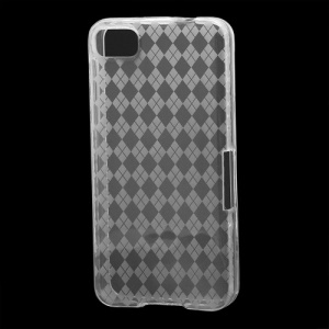 Translucent Grid TPU Jelly Case for BlackBerry Z10 BB 10 - Transparent