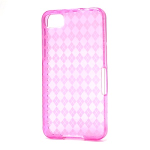 Translucent Grid TPU Jelly Case for BlackBerry Z10 BB 10 - Rose