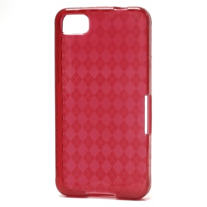 Translucent Grid TPU Jelly Case for BlackBerry Z10 BB 10 - Red