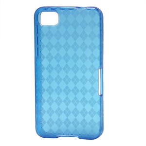 Translucent Grid TPU Jelly Case for BlackBerry Z10 BB 10 - Blue