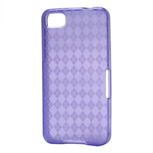 Translucent Grid TPU Jelly Case for BlackBerry Z10 BB 10 - Purple