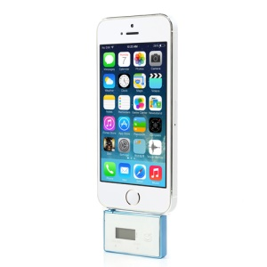LCD Display Handsfree Mic 3.5mm Adapter FM Transmitter for iPhone iPod Samsung Sony etc - White / Blue