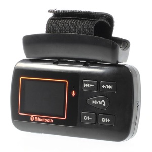 Black LCD Wireless Bluetooth Hands-free Car MP3 Player FM Modulator w/ Li-ion Battery & Car Charger