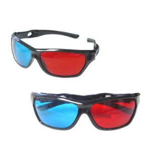 Re-useable Sport Style Plastic Frame Resin Lens Anaglyph Red &amp; Blue 3D Glasses