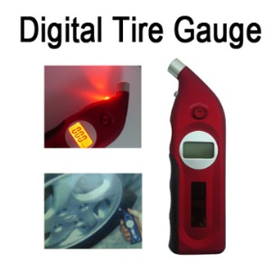 Solar Power Digital Tire Gauge w/ Depth Measurer & LED FlashLight