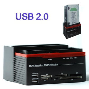 Multi-function 2.5/3.5 inch SATA HDD Docking,Support Sata USB Hub MS XD SD M2 TF CF Card Reader