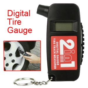 2 in 1 LCD Display Digital Tire Gauge with Keychain