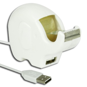 Elephant Style Extension USB Cable / Desktop Tape Dispenser - White
