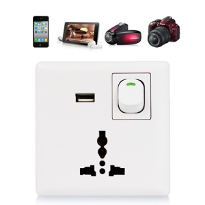 USB Wall Power Supply Socket with Power Switch